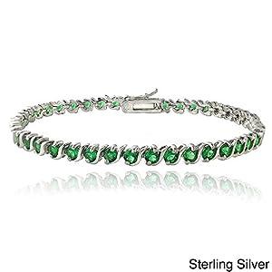 Central World Glitzy Rocks Sterling Silver Lab Created Green Quartz S Design Tennis Bracelet-Sterling Silver