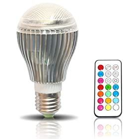 New BrightChoice 10-Watt Color Changing LED Light Bulb with Remote Control. Powered by 3 Vibrant LED's and 10 Watts of Power, its the Brightest Multi Color LED Bulb and Mood Light.