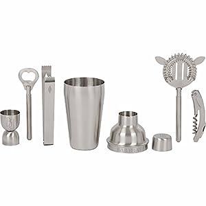 Stainless Steel Bar Set by Bar Brat | Complete 7 Piece Cocktail Shaker Set | Elegant Gift Packaging | Bonus Wine Opener & Corkscrew Included | Makes The Perfect Bar Set