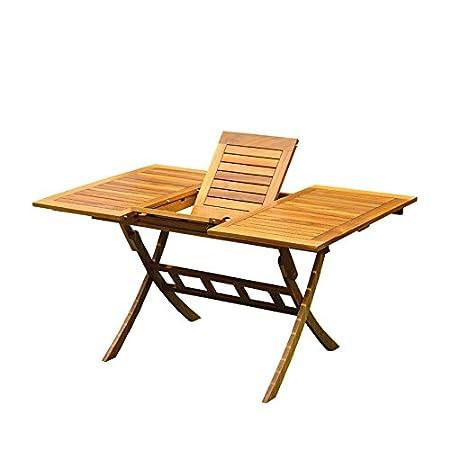 Balkon-Ausziehtisch Akazienholz, 100/140x90 cm, rotbrauner Ausziehtisch, Gartentisch, Gartenmöbel Holzmöbel ausziehbar von Kölle