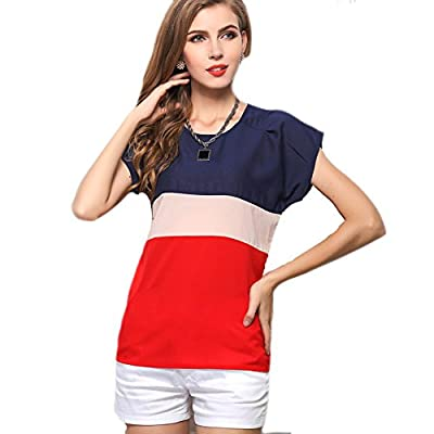 Ebuddy Women's Loose Casual Stripe Color Collision T-shirt Tops Blouse
