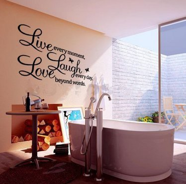 """A Vinyl """"Live Every Moment,Laugh Every Day,Love Beyond Words""""Wall Quote Wall Sticker Removable Decor front-1058178"""