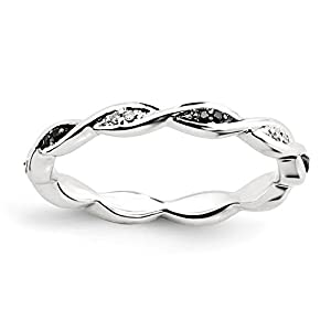 Roy Rose Jewelry Sterling Silver Stackable Expressions Black & White Diamond Ring Size 10