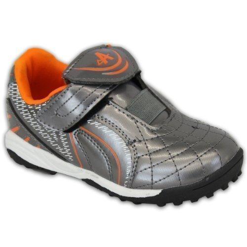 Jungen Ascot Astro Turf Sportschuhe Kinder Fußball Schule Klettverschluss Schuhe Freizeit - Graphite/Orange - BARCELONA, 28, Kunststoff