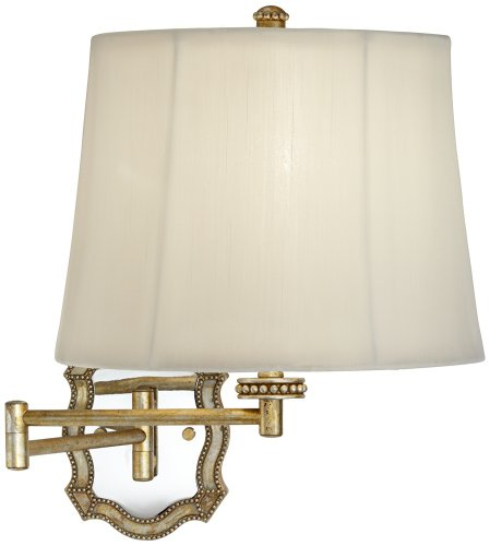 Scalloped Champagne Gold Plug-In Swing Arm Wall Lamp front-958499