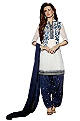 Sanchey Women's Georgette Unstitched Dress Material (754611_White_Free Size)