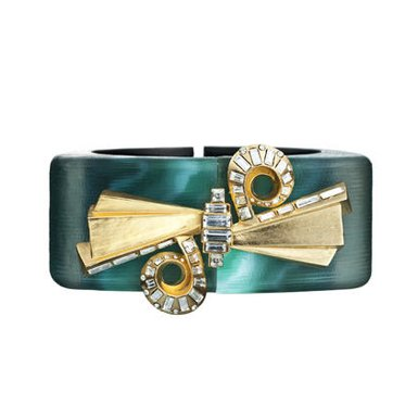 Double Spiral Malachite Bracelet by Alexis Bittar