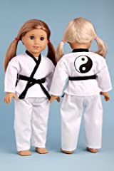 Yin and Yang - Karate / Teakwondo outfit includes blouse, pants and black belt - American Girl Doll Clothes