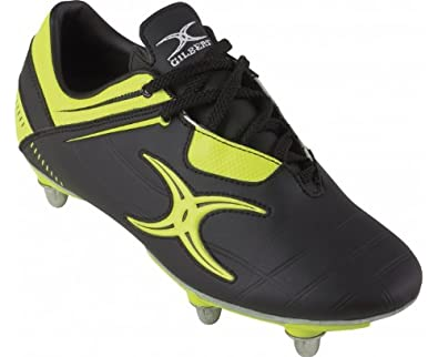 GILBERT Men's Kryten V1 Rugby Boot (6 Stud), Black/Yellow, US7.5