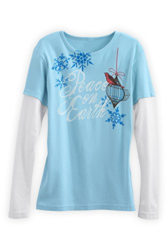Green 3 Apparel Layered Look Peace On Earth Usa Made Organic Tee (Xl, Water) front-1046998