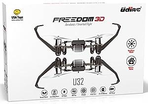 UDI Freedom U32 RC Mini Quadcopter Drone RTF - Inverted Flight Stunt Master - Headless Mode - One Key Return - 3D Flips - LED Lights + BONUS Battery (Doubles Flying Time) - Best Training Drone