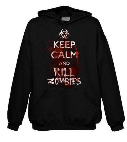 Keep Calm And Kill Zombies Fantasy 700889 uomo con cappuccio Nero  nero
