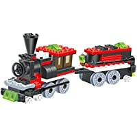 Mini Train 120 Pcs Building Blocks Steam 2 Windows Cabin Engine Locomotive Railway Train Set Comes With Load Wagon...