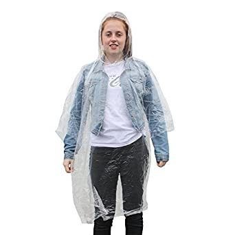 Pack Of 10 Adults Emergency Waterproof Rain Ponchos with Hoods - 4 Colours Available (Transparent)