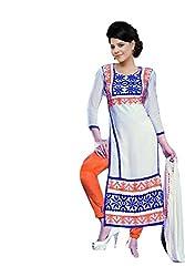Janasya Women's White Embroidered Cotton Dress Material