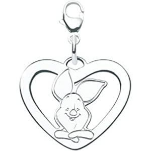 14K White Gold Piglet Heart Disney Charm Jewelry New