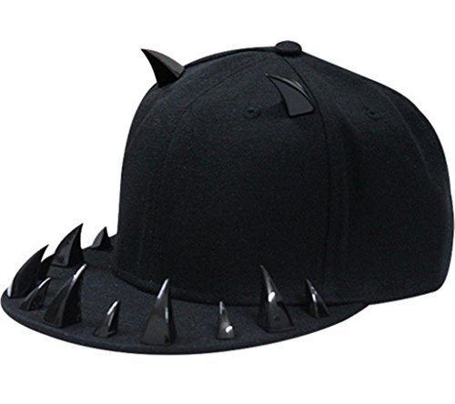 Gumstyle® Fashion Unisex Baseball Cap Snapback adjustable Hip Hop hat Punk Boy Girl Rivets Spike Spiky Studded Button Ox horn Tooth Black (Black Tooth Cap compare prices)