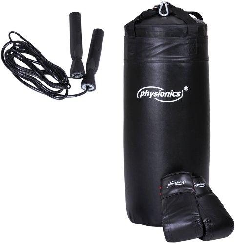 Physionics® Set boxe con sacco da boxe 13kg guantoni boxe 8 OZ e corda