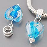 Genuine solid sterling silver 925 Hallmarked Charm / Bead - Light Blue Clear Murano Glass Heart with inset foil for an extremely unusual unique look.. They fit Pandora, Biagi, Chamilia and similar European bracelets and necklaces and comes in a pretty organza drawstring bag. We are based in the UK so you get them fast. They are simply beautiful and you will not be disappointed, treat yourself or give as a super present. Size is approx 27mm X 12mm with a hole of 5.5mm. Please Note every single one is unique, hence the one you receive may not look exactly as picture.