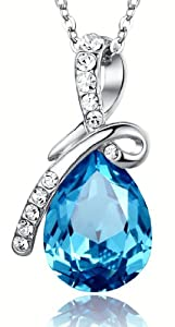 Eternal Love Teardrop Swarovski Elements Crystal Pendant Necklace - Ocean Blue Large Crystal 17.5