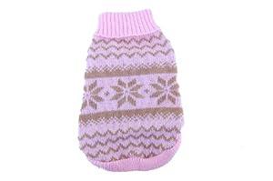 Anima Pink and Brown Knit Snowflake Pattern Sweater, Medium