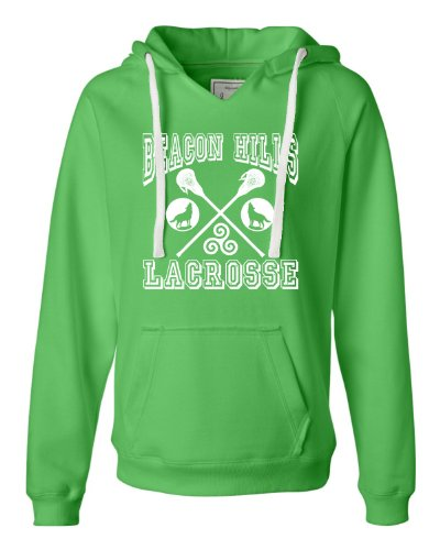Small Lime Womens Beacon Hills Lacrosse Deluxe Soft Hoodie