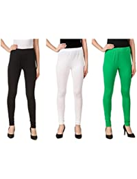 Svadhaa White Black Green Cotton Lycra Leggings(Pack Of 3)