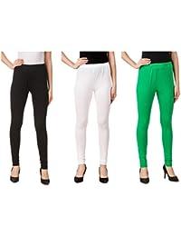 Svadhaa White Black Green Cotton Lycra Leggings(Pack Of 3)