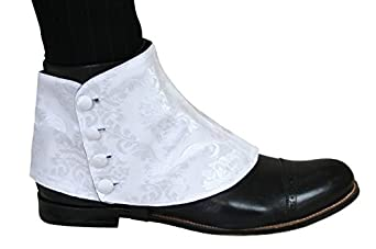 Historical Emporium Mens Premium Satin Jacquard Button Spats $31.95 AT vintagedancer.com