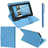 ZEETEK® **HIGH QUALITY 7 Inch Light Blue Leather Folding Stand case for BlackBerry Playbook + Free Stylus! **