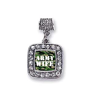 Army Wife Soldier Spouse Charm Fits Pandora Bracelets & Compatible with Most Major Brands such as Chamilia, Murano, Troll, Biagi and other European Bracelets from Inspired Silver