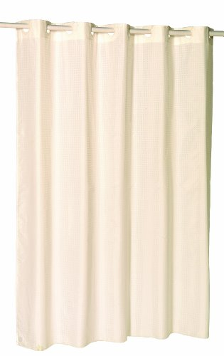 Carnation Home Fashions EZ On No Hooks Needed 70 By 84 Inch Fabric Shower Curtain X Long Checks In Ivory