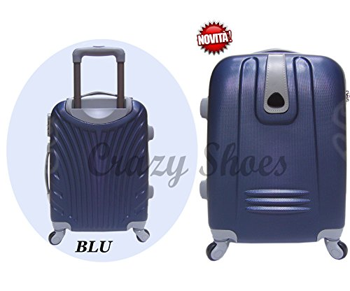 Bagaglio a mano trolley voli low cost in abs rigido 4 ruote + asta estensibile -loco by crazy shoes (Blu)