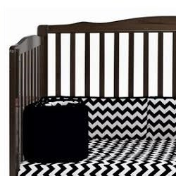 Chevron Porta Crib Bumper - Color: Black
