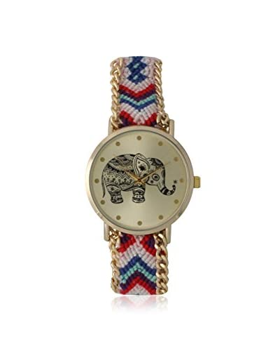 Olivia Pratt Women's 14811 Tribal Elephant Multi Woven Cloth Band with Alloy Links Watch