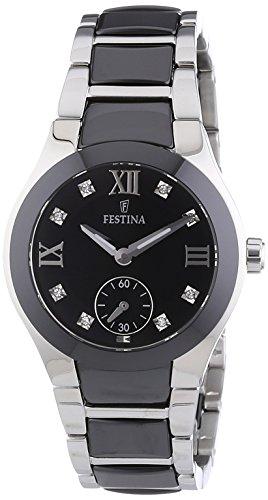 Festina F16588/3 - Reloj analógico de pulsera para mujer (mecanismo de cuarzo, esfera negra y correa de acero inoxidable negro)