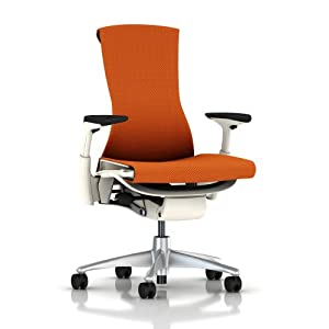 Embody Chair by Herman Miller - Home Office Desk Task Chair with Adjustable Arms - White Frame Titanium Base Upgraded Mango Balance Fabric