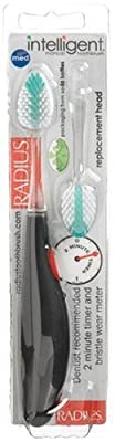 Radius Intelligent Manual Toothbrush, Medium, 1 Toothbrush + Refill, Colors May Vary (Pack of 2)