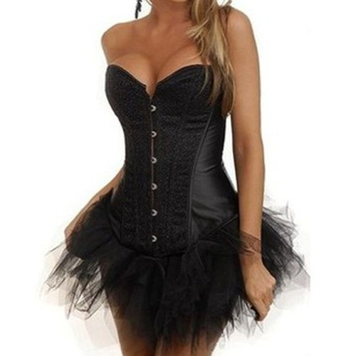 Bamu Black Sequin Overbust Corsets Bustier Tutu Burlesque Halloween Dress
