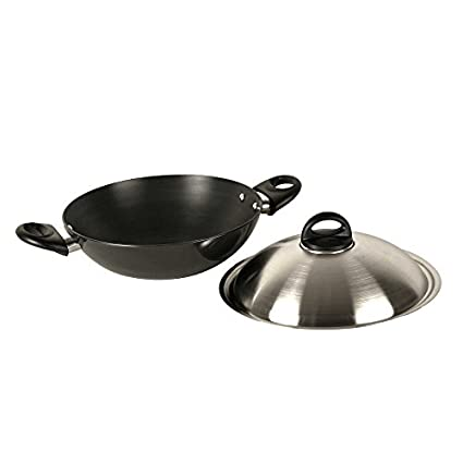 Kitchen Chef Hard Anodized Deep Kadhai With Dome Lid (4 L)
