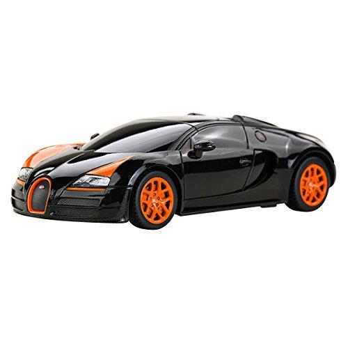 YESURPRISE Modellauto Rastar Spielauto Fernbedienung Auto Car Modell R/C 1:24 Bugatti Grand Sport Vitesse 47000 Black Car Model