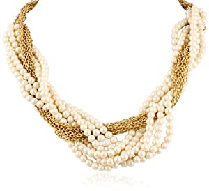 """Carolee """"Brown Eyed Girl"""" Chain and Pearl Tone Twisted Necklace, 24"""""""