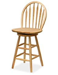 Winsome Home Indoor Outdoor 24 Classical Beech Finish Swivel Wooden Bar Stool Single RTA by Winsome Wood