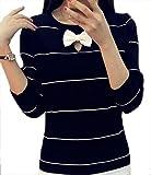 (エンジェルムーン) AngelMoon ニット トップス 長袖 ボーダー リボン付き セーター レディース (フリーサイズ, 黒)