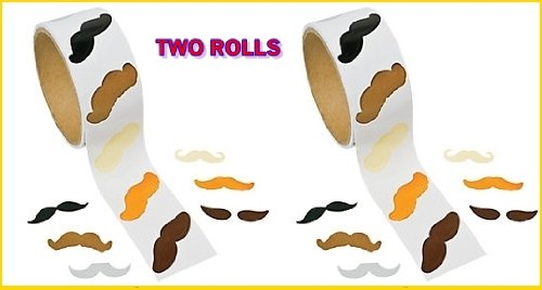 Mustache Stickers - 200 Pc Moustache Party Favor (2 Rolls) by toyco