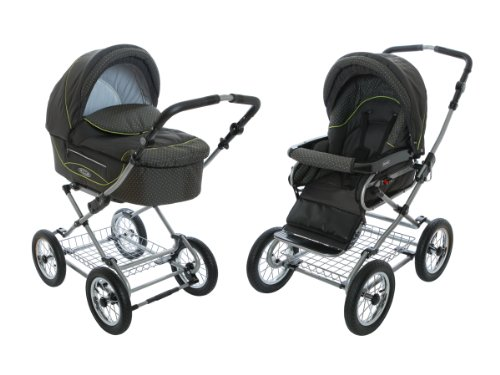 Roan Kortina Classic Pram Stroller 2-in-1 with Bassinet and Seat - Anthracite - Green