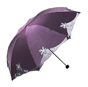 Sta.ANA(サンタ・アナ) 日傘 UVカット 折りたたみ 刺繍 晴雨兼用 三折り 全6色 (紫)