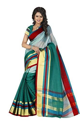 Harsh Sarees Women's Multi Colour Supernet Cotton Saree (GUD-1289_Multi Colour)