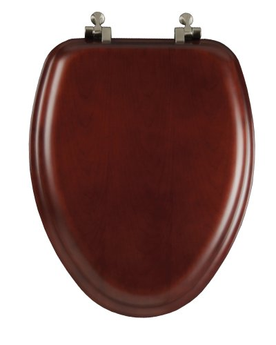 Mayfair 19602NI 178 Natural Reflections Wood Veneer Toilet Seat with Brushed-Nickel Hinges, Elongated, Cherry