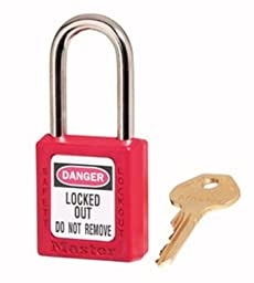 Master Lock 410KARED2KEY Safety Series Padlock for Lockout/Tagout Applications, Red